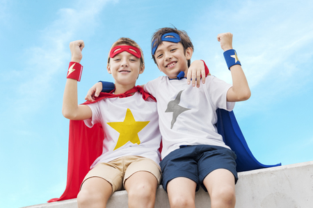 Superheroes Boys Friends Brother Buddy Concept Stock Photo