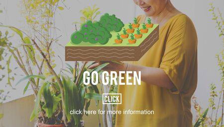 asian gardening: Go Green Farming Planting Gardening Concept