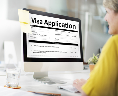 Visa application concept on computer screen