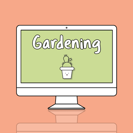 Gardening concept on computer screen Banco de Imagens