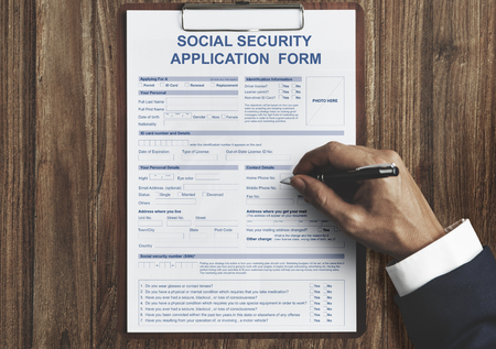 Social Security Benefit Form Application Concept Stock Photo