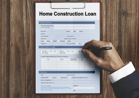 Home Construction Loan Document Form Concept Stock Photo