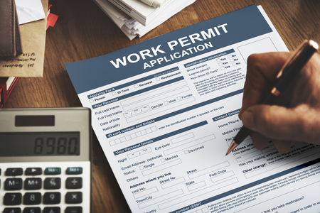 place of employment: Work Permit Application Job Employment Concept