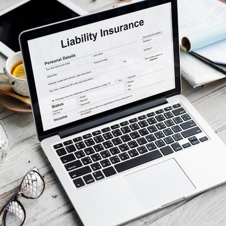 money risk: Liability Insurance Money RIsk Form Document Concept Stock Photo