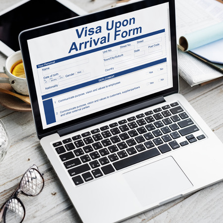 Visa application concept on laptop screen Stock Photo
