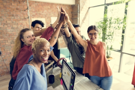 success man: Teamwork Power Successful Meeting Workplace Concept Stock Photo