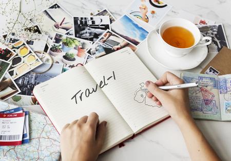 Geniet van vakantie reizen concept Stockfoto