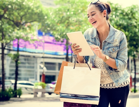 consumerism: Woman Shopping Spending Customer Consumerism Concept