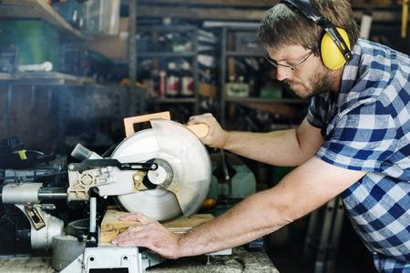 woodwork: Carpenter Craftman Lumber Timber Woodwork Concept Stock Photo