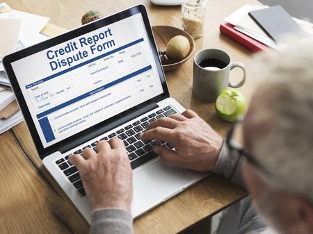 dispute: Credit Report Dispute Form Insurance Concept Stock Photo