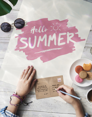 letter writing: Hello Summer Writing Letter Concept