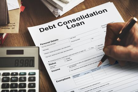 consolidate: Debt Consolidation Loan Financial Concept