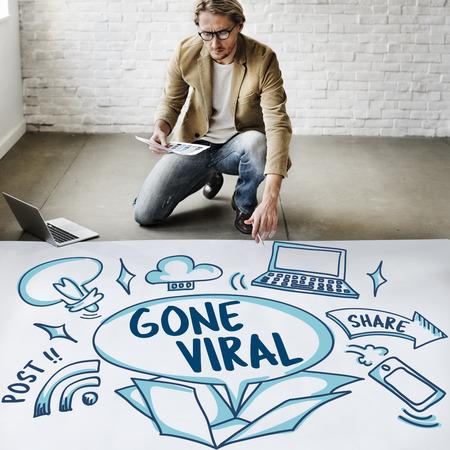 laptop outside: Social Media Viral Ideas Outside Box Sketch Concept