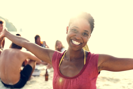 descent: African Descent Woman Enjoying Beauty Bright Concept Stock Photo