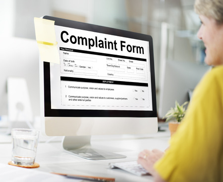Complaint form concept on computer screen