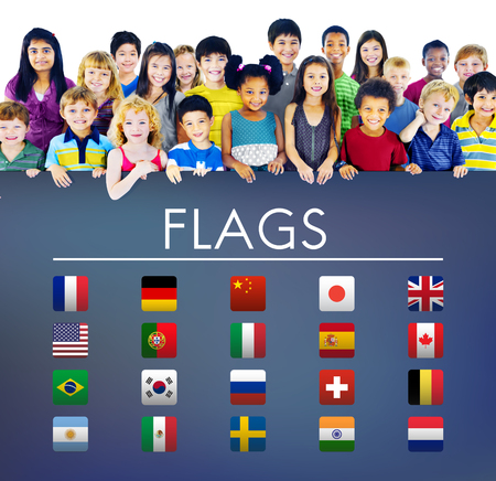foreign country: Flag Countries Foreign International Symbol Concept