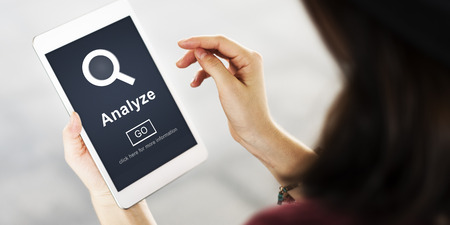 strategize: Analyze Data Strategize Website Concept Stock Photo