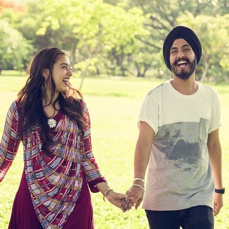 indian ethnicity: Couple Indian Ethnicity Park Companionship Concept