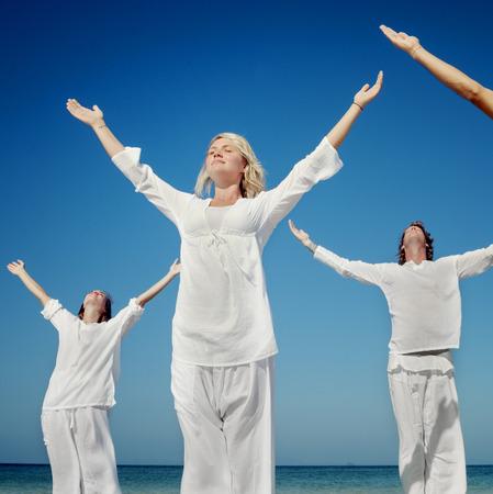 Beach Yoga Balance Calm Relaxing Exercise Concept