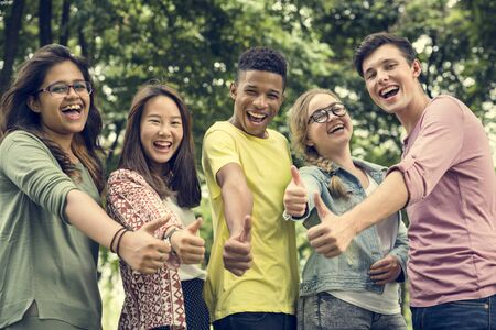 Diverse Group Young People Thumb Up Concept 版權商用圖片 - 66176131