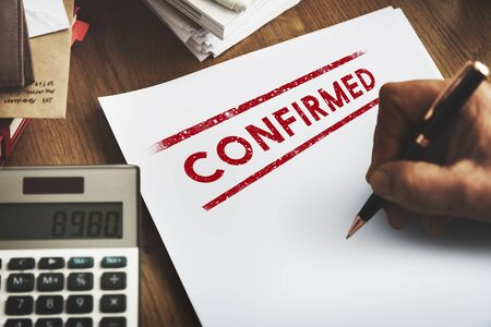 Comfirmed Approval Result Certified Authorised Concept Stock Photo