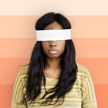 descent: African Descent Woman Covering Eyes Concept Stock Photo