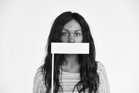 African Descent Covering Mouth Voiceless Concept
