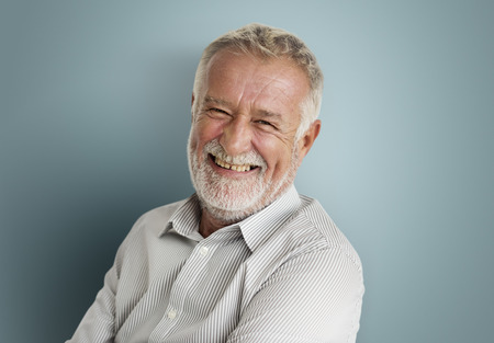Elderly Man Smiling Face Expression Concept Stock Photo