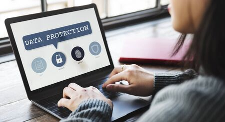 online privacy: Authorization Permission Network Security System Concept Stock Photo