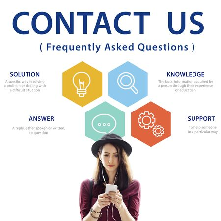 Contact us Information Faqs Word Concept Stock Photo