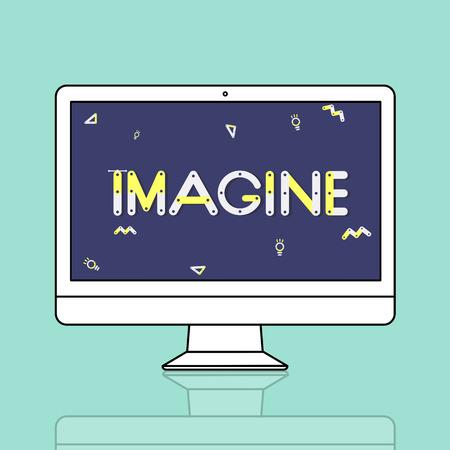 envision: Geometric Font Brainstorm Ideas Concept Stock Photo