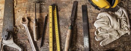 Carpenter Craftman Lumber Timber Woodwork Concept Stock Photo