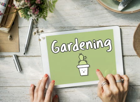Gardening concept on digital tablet