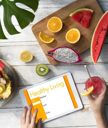 Healthy living concept on digital tablet