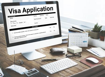Visa application concept on computer screen