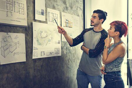 Design Studio Architecte Creative Occupation Blueprint Concept Banque d'images