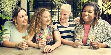 Mulheres Comunicação Juntos Conceito feliz Imagens