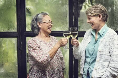 meet: Senior Women Retirement Meet up Happiness Concept