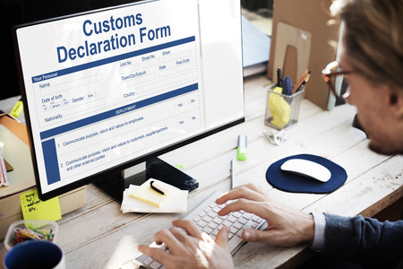 Customs Declaration Form Invoice Freight Parcel Concept Фото со стока