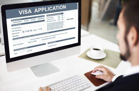 visa approved: Visa Application Form Immigration Concept