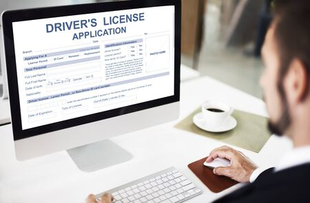 drivers license: Drivers License Application Identification Concept Stock Photo