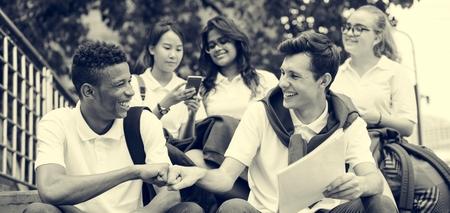 school teens: Friend Student Happiness College Diverse Concept