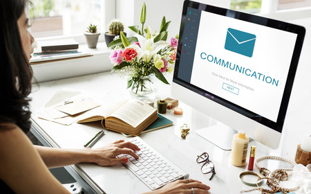 non verbal communication: Communication Messaging Contact Envelope Online Concept Stock Photo