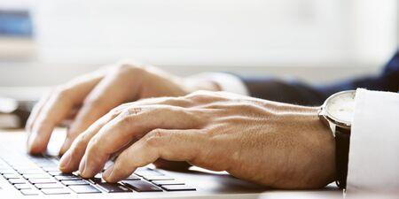 Businessman Typing Working Keyboard Laptop Concept