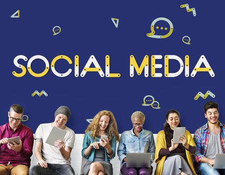 Group of people with social media concept