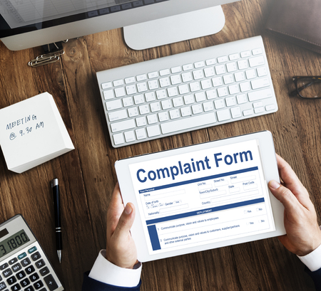 Complaint form concept on digital tablet Stockfoto