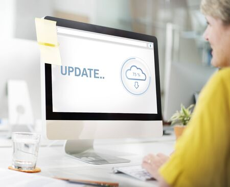 updating: Update Cloud Storage Data Information Concept Stock Photo
