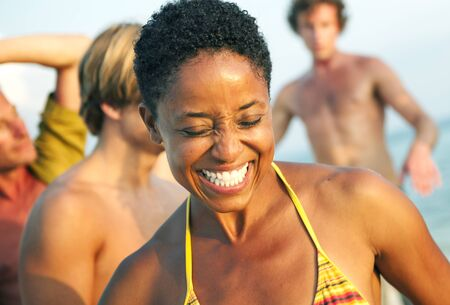 African Descent Woman Enjoying Beauty Bright Concept Stock Photo