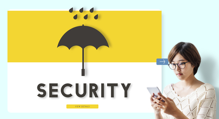 Security concept with a woman Stock Photo