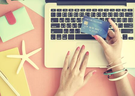 spending: Credit Card Online Shopping Spending Payment Concept